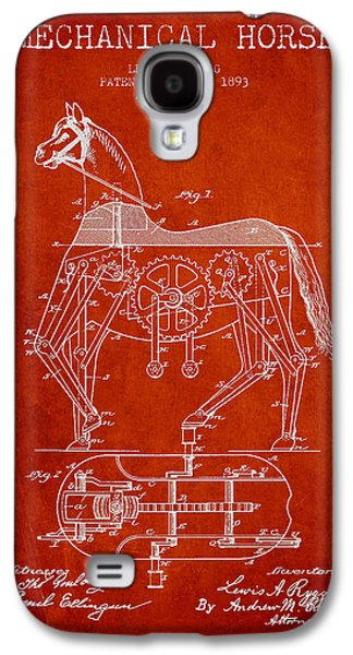 Horse Digital Galaxy S4 Cases - Mechanical Horse Patent Drawing From 1893 - Red Galaxy S4 Case by Aged Pixel
