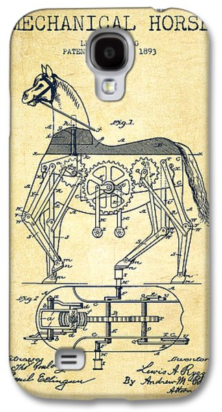 Horse Digital Galaxy S4 Cases - Mechanical Horse Patent Drawing From 1893 - Vintage Galaxy S4 Case by Aged Pixel