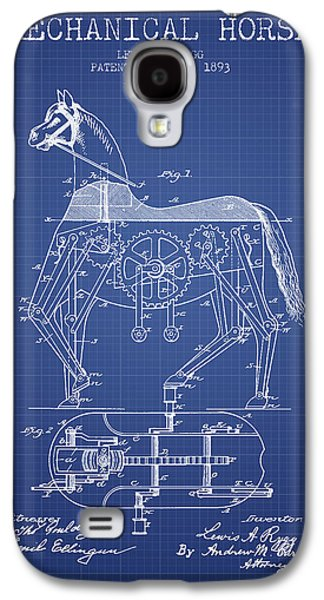 Horse Digital Galaxy S4 Cases - Mechanical Horse Patent From 1893- Blueprint Galaxy S4 Case by Aged Pixel