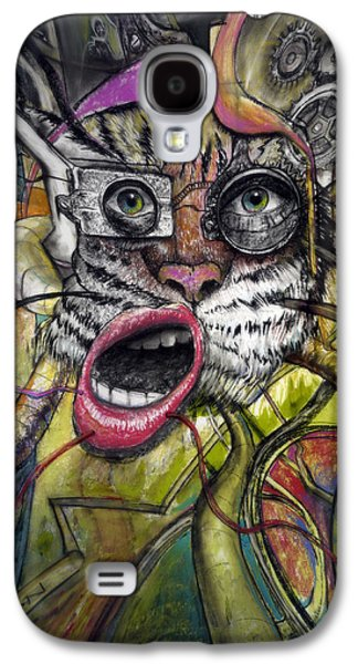 Gear Paintings Galaxy S4 Cases - Mechanical Tiger Girl Galaxy S4 Case by Frank Robert Dixon