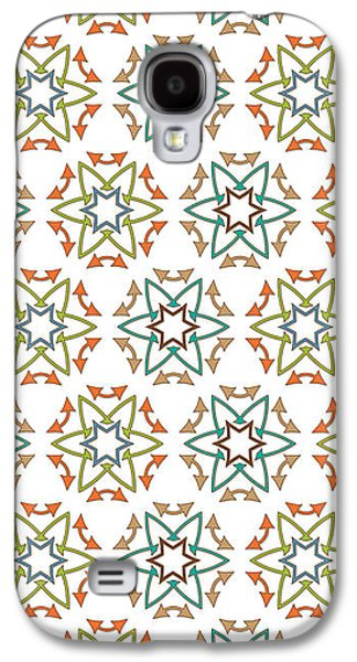 Concept Tapestries - Textiles Galaxy S4 Cases - Medieval Fabric Arrows Flowers Galaxy S4 Case by Jozef Jankola