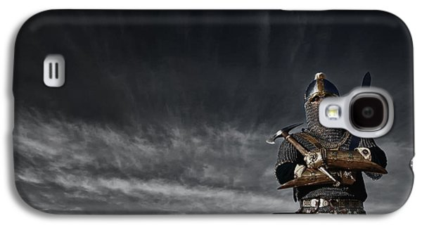 Knight Galaxy S4 Cases - Medieval Knight with Sword and Axe Galaxy S4 Case by Holly Martin