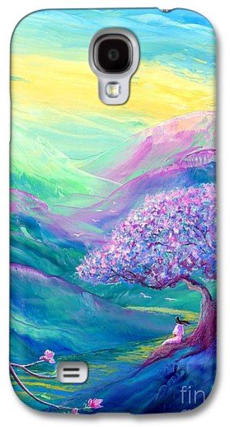 Field Paintings Galaxy S4 Cases - Meditation in Mauve Galaxy S4 Case by Jane Small