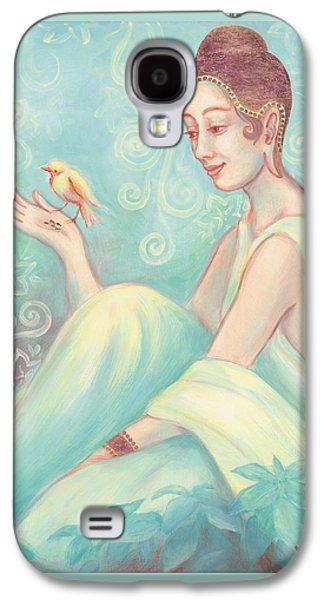 Meditation With Bird Galaxy S4 Case by Judith Grzimek