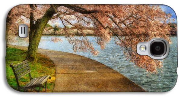 Cherry Blossoms Galaxy S4 Cases - Meet Me At Our Bench Galaxy S4 Case by Lois Bryan