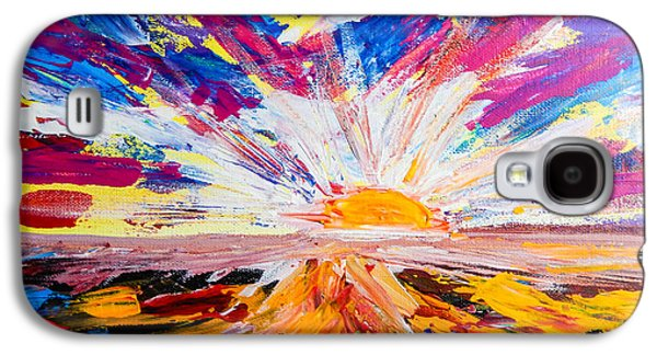 Surreal Landscape Galaxy S4 Cases - Meeting the Sun Abstract Landscape Galaxy S4 Case by Eliza Donovan