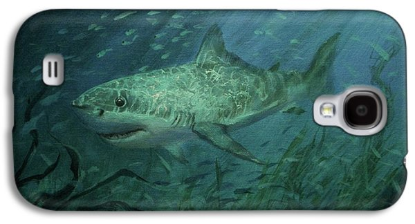 Shark Paintings Galaxy S4 Cases - Megadolon Shark Galaxy S4 Case by Tom Shropshire