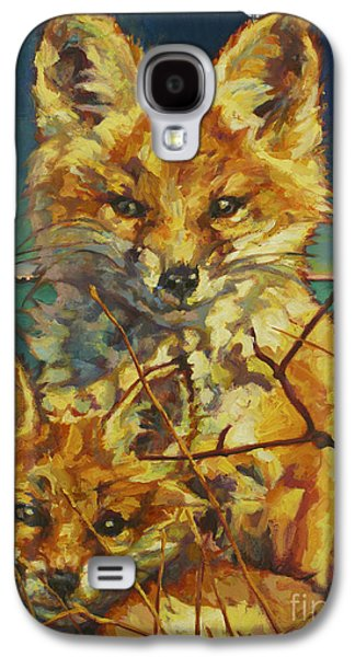 Fox Kit Paintings Galaxy S4 Cases - Mel And Todd Galaxy S4 Case by Patricia A Griffin