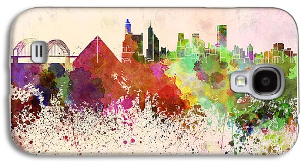 Tennessee Landmark Galaxy S4 Cases - Memphis skyline in watercolor background Galaxy S4 Case by Pablo Romero