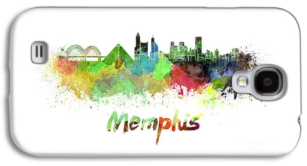 Tennessee Landmark Galaxy S4 Cases - Memphis skyline in watercolor Galaxy S4 Case by Pablo Romero