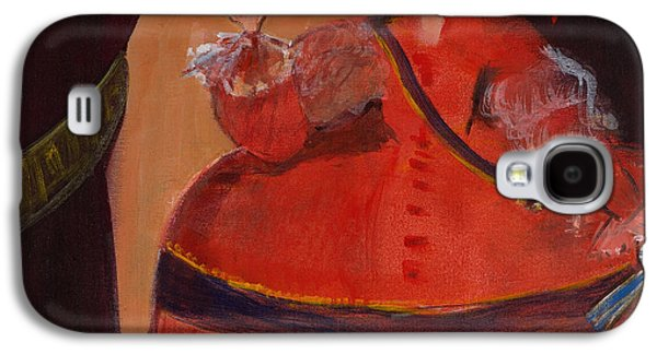 Ball Gown Photographs Galaxy S4 Cases - Menina In Red With Small Cockerel Oil & Acrylic On Canvas Galaxy S4 Case by Marisa Leon