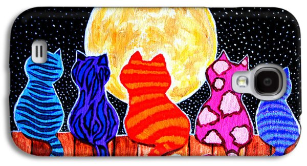 Color Paintings Galaxy S4 Cases - Meowing at Midnight Galaxy S4 Case by Nick Gustafson