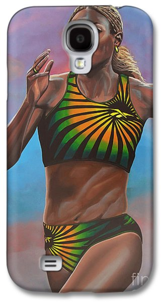 Athletes Paintings Galaxy S4 Cases - Merlene Ottey Galaxy S4 Case by Paul  Meijering