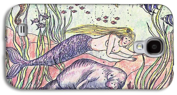 Angel Mermaids Ocean Galaxy S4 Cases - Mermaid and the Manatee Galaxy S4 Case by N Taylor