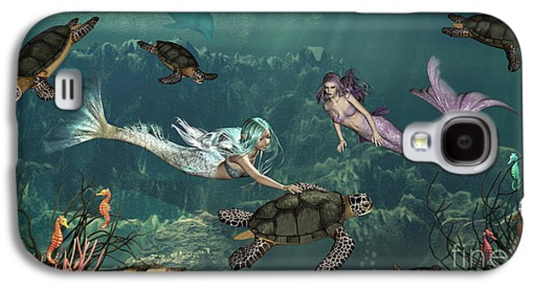 Reptiles Digital Galaxy S4 Cases - Mermaids At Turtle Springs Galaxy S4 Case by Methune Hively
