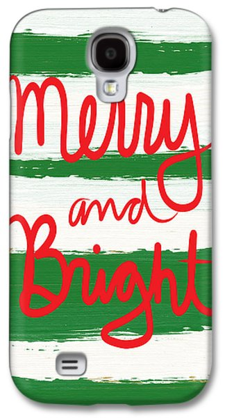 Painted Mixed Media Galaxy S4 Cases - Merry and Bright- Greeting Card Galaxy S4 Case by Linda Woods