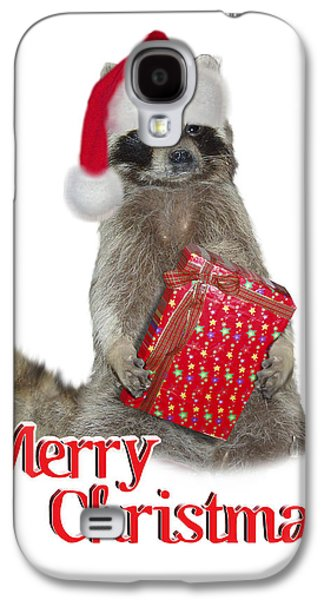 Raccoon Digital Art Galaxy S4 Cases - Merry Christmas -  Raccoon Galaxy S4 Case by Gravityx Designs