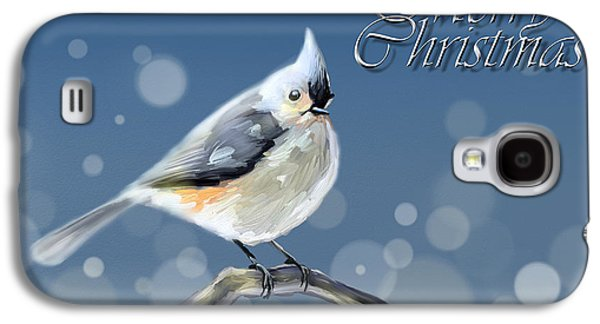 Tufted Titmouse Galaxy S4 Cases - Merry Christmas - Tufted Titmouse Galaxy S4 Case by Arie Van der Wijst