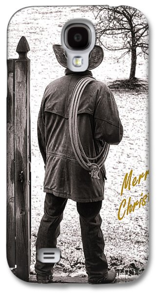 Christmas Greeting Galaxy S4 Cases - Merry Christmas from Cowboy Country Galaxy S4 Case by Olivier Le Queinec