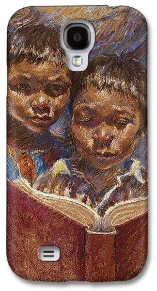 Book Pastels Galaxy S4 Cases - Mexican Brothers Reading Galaxy S4 Case by Ellen Dreibelbis
