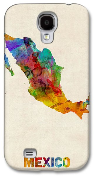 Map Galaxy S4 Cases - Mexico Watercolor Map Galaxy S4 Case by Michael Tompsett