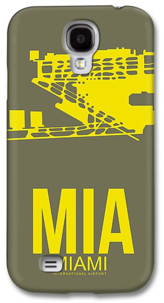 Town Mixed Media Galaxy S4 Cases - MIA Miami Airport Poster 1 Galaxy S4 Case by Naxart Studio