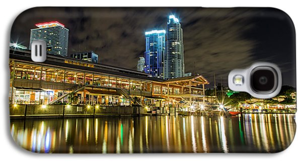 Landmarks Photographs Galaxy S4 Cases - Miami Bayside at night Galaxy S4 Case by Andres Leon