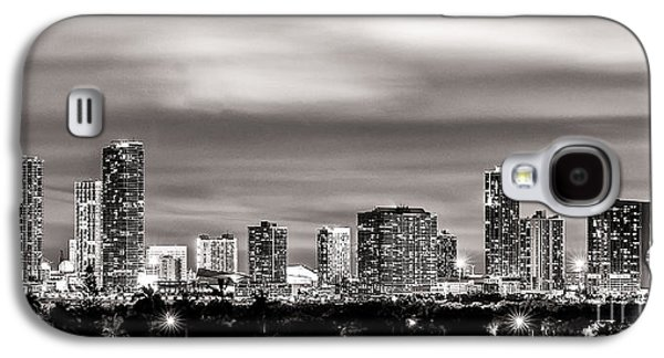 Light Galaxy S4 Cases - Miami City Skyline Black and White Galaxy S4 Case by Rene Triay Photography