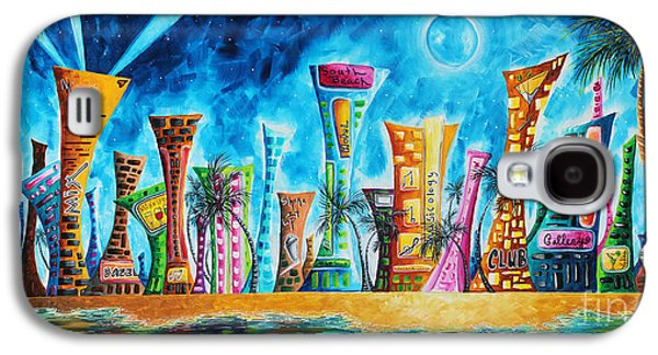 Miami City South Beach Original Painting Tropical Cityscape Art Miami Night Life By Madart Absolut X Galaxy S4 Case by Megan Duncanson