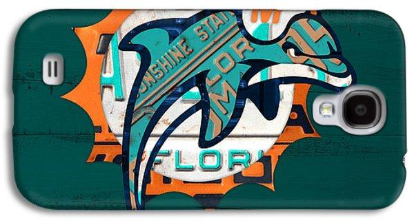 Miami Dolphins Football Team Retro Logo Florida License Plate Art Galaxy S4 Case by Design Turnpike