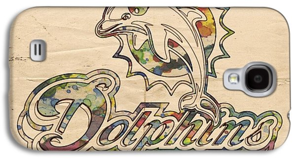 Dolphin Digital Art Galaxy S4 Cases - Miami Dolphins Logo Art Galaxy S4 Case by Florian Rodarte