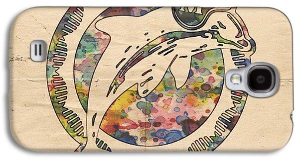 Dolphin Digital Art Galaxy S4 Cases - Miami Dolphins Poster Art Galaxy S4 Case by Florian Rodarte