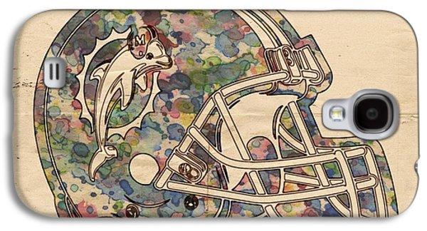 Dolphin Digital Art Galaxy S4 Cases - Miami Dolphins Vintage Art Galaxy S4 Case by Florian Rodarte