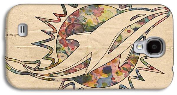 Dolphin Digital Art Galaxy S4 Cases - Miami Dolphins Vintage Logo Galaxy S4 Case by Florian Rodarte