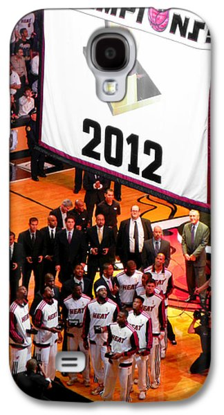 Dwyane Wade Galaxy S4 Cases - Miami Heat Championship Banner Galaxy S4 Case by J Anthony