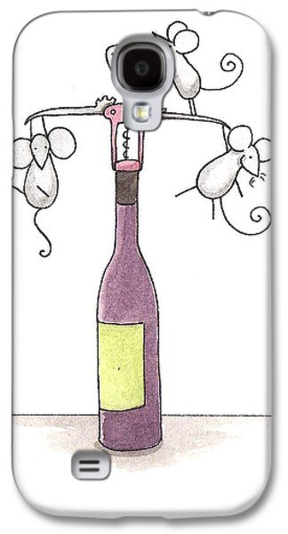Purple Drawings Galaxy S4 Cases - Mice with Wine Galaxy S4 Case by Christy Beckwith