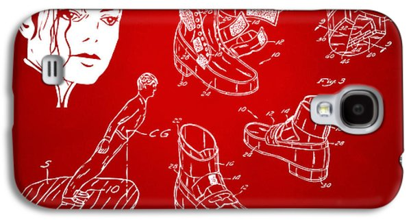 Michael Digital Galaxy S4 Cases - Michael Jackson Anti-Gravity Shoe Patent Artwork Red Galaxy S4 Case by Nikki Marie Smith