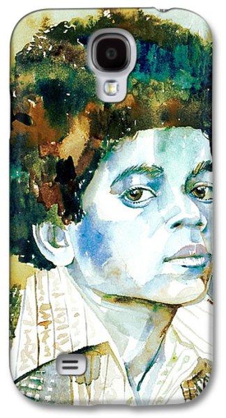 Michael Jackson Paintings Galaxy S4 Cases - MICHAEL JACKSON - watercolor portrait.12 Galaxy S4 Case by Fabrizio Cassetta