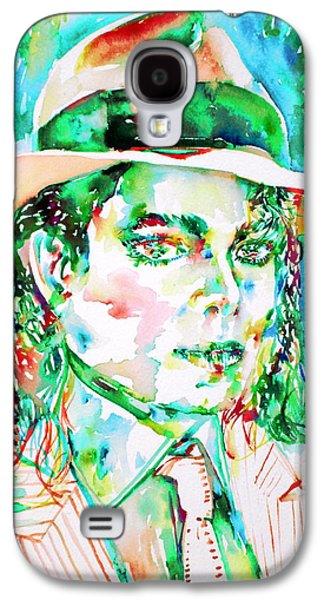 Michael Jackson Paintings Galaxy S4 Cases - MICHAEL JACKSON - watercolor portrait.15 Galaxy S4 Case by Fabrizio Cassetta