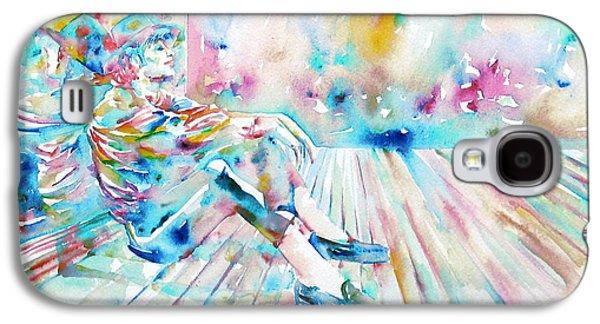 Bad Drawing Galaxy S4 Cases - MICHAEL JACKSON - watercolor portrait.8 Galaxy S4 Case by Fabrizio Cassetta