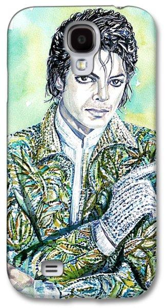 Michael Jackson Paintings Galaxy S4 Cases - MICHAEL JACKSON - watercolor portrait.19 Galaxy S4 Case by Fabrizio Cassetta