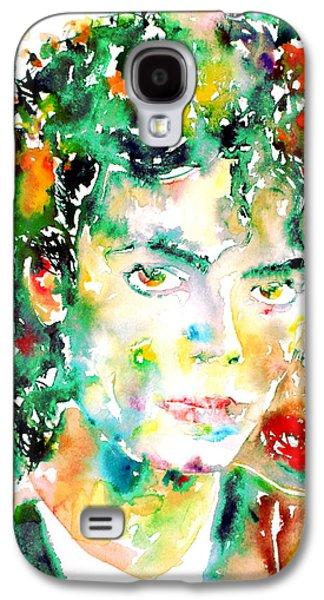 Michael Jackson Paintings Galaxy S4 Cases - MICHAEL JACKSON - watercolor portrait.4 Galaxy S4 Case by Fabrizio Cassetta