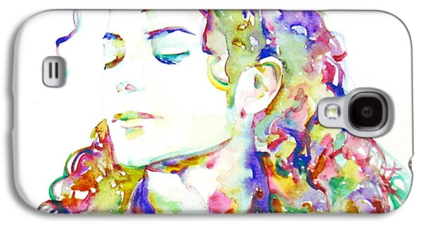 Michael Jackson Paintings Galaxy S4 Cases - MICHAEL JACKSON - watercolor portrait.6 Galaxy S4 Case by Fabrizio Cassetta