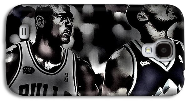 Patrick Ewing Galaxy S4 Cases - Michael Jordan and Carl Malone Galaxy S4 Case by Brian Reaves