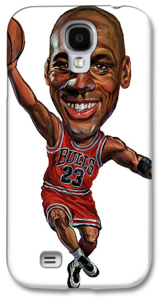 Athletes Paintings Galaxy S4 Cases - Michael Jordan Galaxy S4 Case by Art