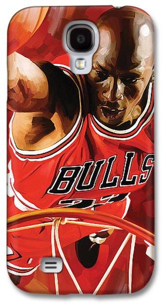 Nba Mixed Media Galaxy S4 Cases - Michael Jordan Artwork 3 Galaxy S4 Case by Sheraz A