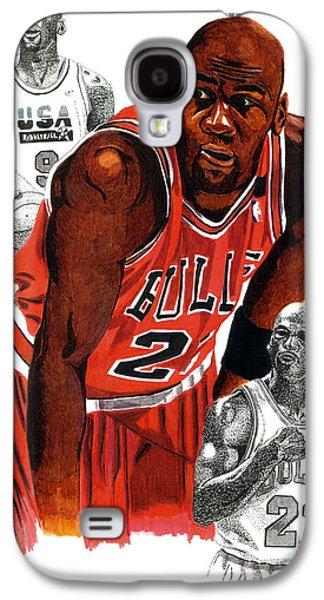 Jordan Drawings Galaxy S4 Cases - Michael Jordan Galaxy S4 Case by Cory Still