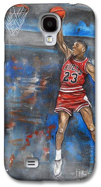 Dunk Mixed Media Galaxy S4 Cases - Michael Jordan Dunk Galaxy S4 Case by Charlie Palline