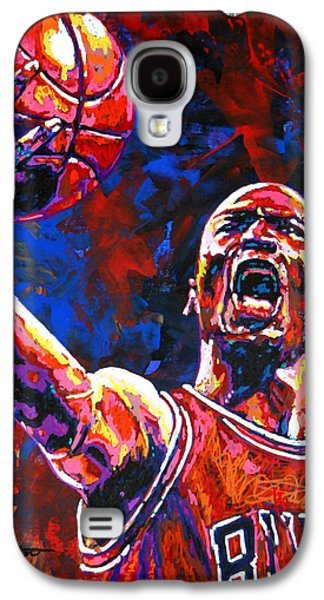 Nba Paintings Galaxy S4 Cases - Michael Jordan Layup Galaxy S4 Case by Maria Arango