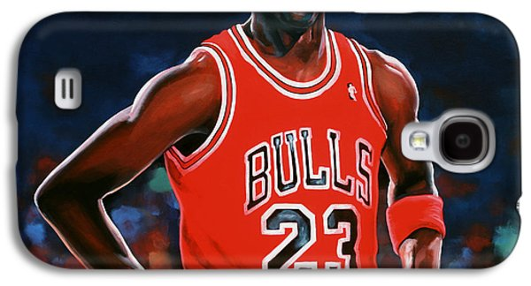 Athletes Paintings Galaxy S4 Cases - Michael Jordan Galaxy S4 Case by Paul Meijering